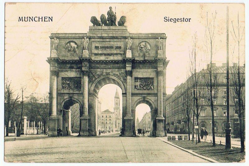 München Siegestor gel. 1916 Feldpost