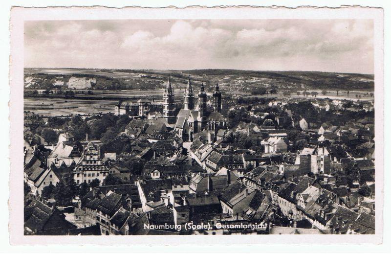Naumburg (Saale) DDR Gesamtansicht, 1950, zentral der Dom