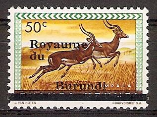 Burundi 6 II ** Aufdruck groß, 13 mm lang ! (2015691)