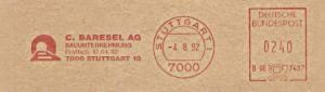 Freistempel B66 7407 Stuttgart - Baresel AG (#137)