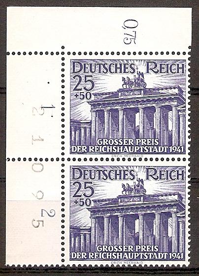 Deutsches Reich 803 ** Großer Preis der Reichshauptstadt , Berlin Hoppegarten 1941 - Senkrechtes Paar / Bogenzähler / Eckrand RRR ! (2015713)