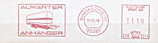 Freistempel E58 3314 Simmozheim - Auwärter Anhänger (Abb. PKW-Anhänger) (#92)