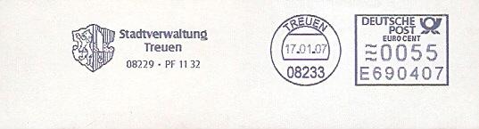 Freistempel E690407 Treuen - Stadtverwaltung (Abb. Wappen)  (#83)