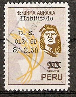 Peru 709 o Agrarreform mit Aufdruck 1969 (2015933)