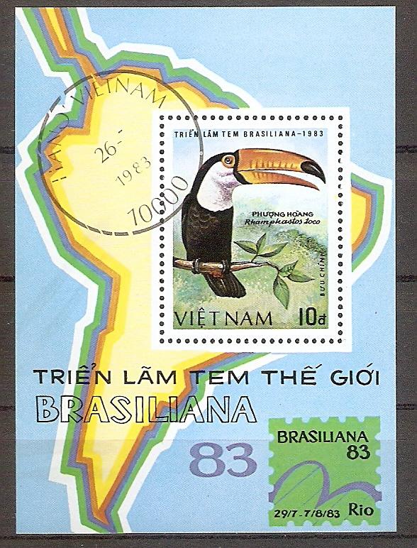 Vietnam Block 21 o BRASILIANA '83 / Riesen-Tukan (20193)