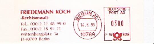 Freistempel F76 8098 Berlin - RA Friedemann Koch (#395)