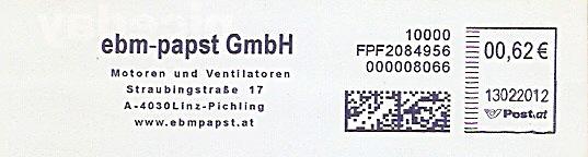 Freistempel Österreich FPF2084956 Linz - ebm-papst GmbH / Motoren und Ventilatoren (#282)