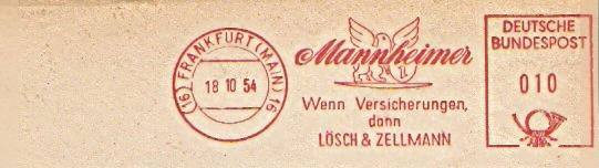 Freistempel Frankfurt - Mannheimer Versicherung 1954 /  Wenn Versicherungen dann Lösch und Zellmann (#199) 0