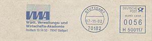 Freistempel H500117 Stuttgart - VWA / Württ. Verwaltungs- und Wirtschafts Akademie(#195)