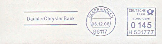 Freistempel H501777 Saarbrücken - DaimlerChrysler Bank (#85)