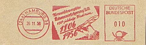 Freistempel Hamburg - Braunschweigische Lebensversicherung 1956 (Abb. Schreibfeder) (#293)