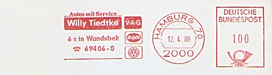 Freistempel Hamburg - Willy Tiedtke V-A-G (#332)