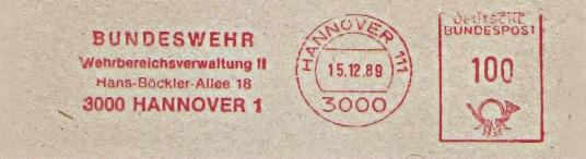 Freistempel Hannover - Bundeswehr Wehrbereichsverwaltung II (#341)