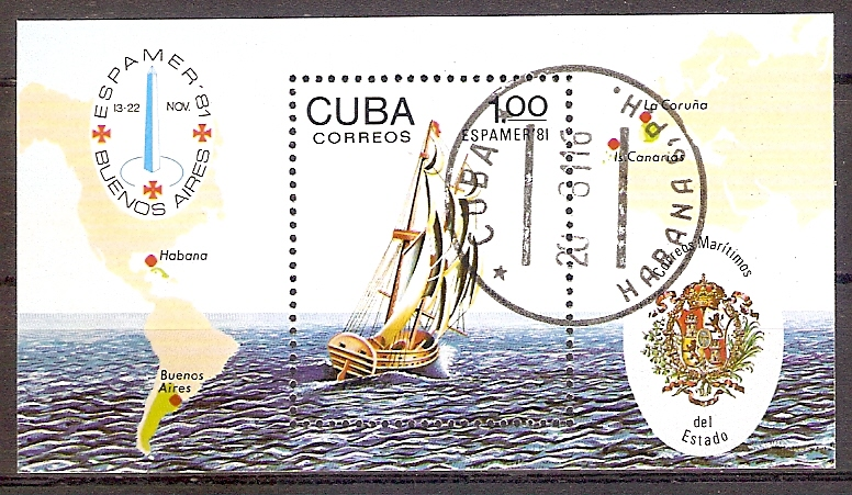 Cuba Block 70 o Internationale Briefmarkenausstellung ESPAMER '81 (201911)