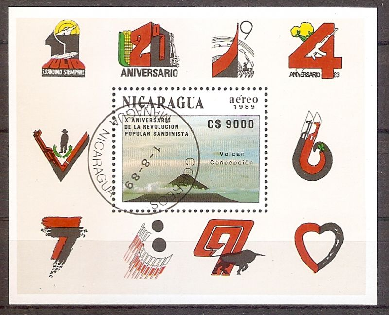 Nicaragua Block 188 o 10. Jahrestag der sandinistischen Revolution 1989 (201912)