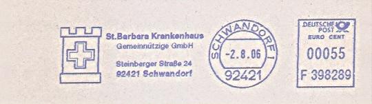 Freistempel F398289 Schwandorf - St. Barbara Krankenhaus (#408)