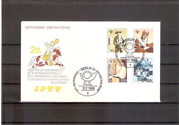 Berlin 342 - 345 FDC Weltkongress des Personals der Post-, Telegrafen- und Telefonbetriebe (IPTT) Berlin 1969 (fdc12)