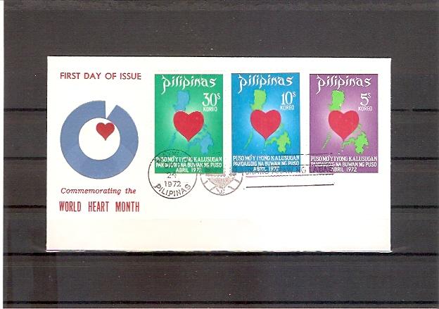 Philippinen 1029 - 1031 FDC Welt-Herzmonat 1972 (fdc17)