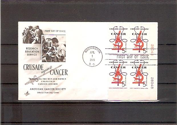 USA 878 FDC Krebsbekämpfung 1965 Plateblock (fdc19)