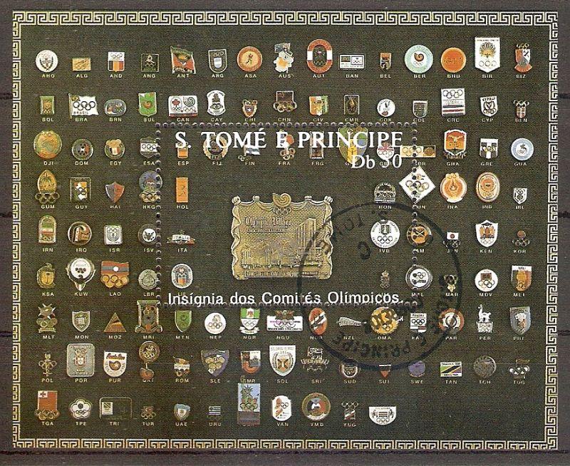 Sao Tome & Principe Block 185 b o Olympische Spiele 1988 / Abzeichen des Internationalen Olympischen Komitees (201936)