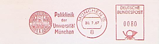 Freistempel München - Poliklinik der Universität München (Abb. Universitäts-Siegel) (#435)