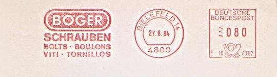 Freistempel Bielefeld - BÖGER Schrauben - Bolts - Boulons - Viti - Tornillos (#444)