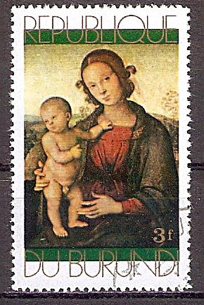 Burundi 798 A o Weihnachten 1971 - Madonna mit Kind von Il Perugino (201956)