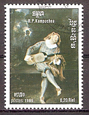 Kambodscha 680 o Internationales Jahr der Musik 1985 - Mezzetin von Antoine Watteau (201960)