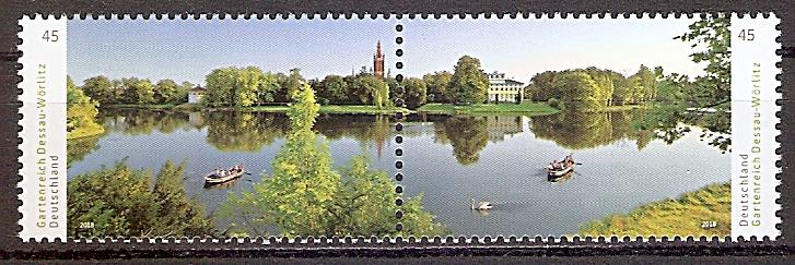BRD 3401 - 3402 ** Zd. ! Paar ! Gartenreich Dessau-Wörlitz: Wörlitzer See mit Synagoge, Kirche St. Petri und Schloss, 2018  (201995)