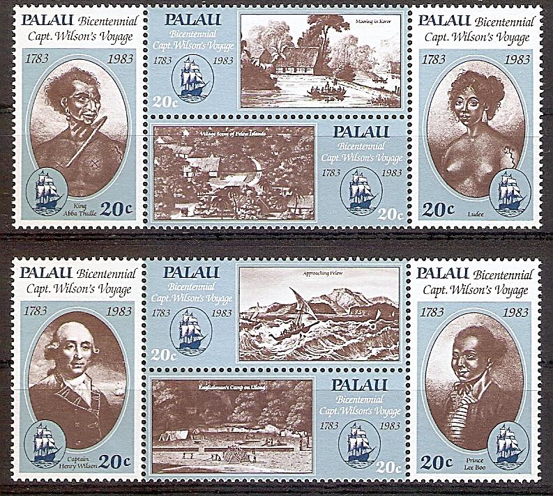 Palau 29 - 36 ** 200. Jahrestag der Landung von Kapitän Wilson auf Palau 1983 (201999)