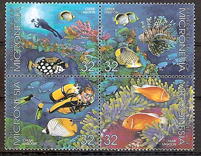Mikronesien 402 - 405 ** Lagune der Insel Chuuk 1995 - Viererblock (2019100)