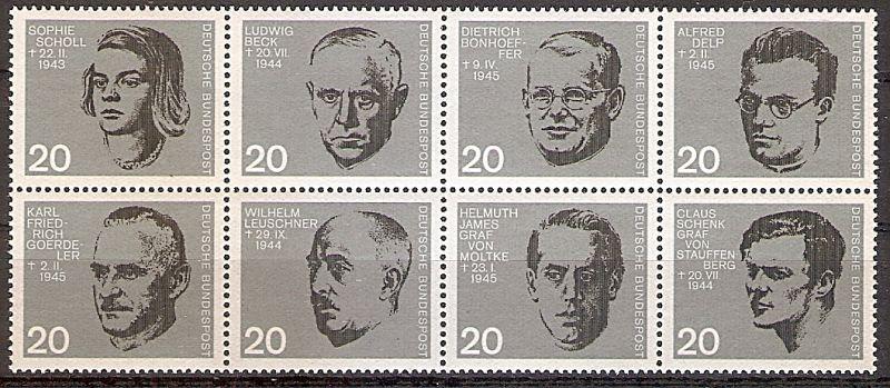 BRD 431 - 438 ** 20. Jahrestag des Attentats auf Adolf Hitler 1964 / Kompletter Zusammendruck, ungefaltet, aus Block 3 (2019101)