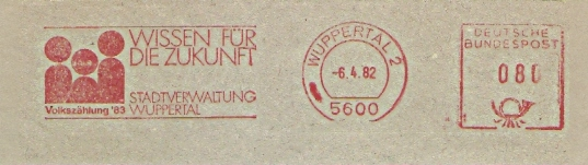 Freistempel Wuppertal - Stadtverwaltung Wuppertal - Wissen für die Zukunft - Volkszählung ´83 (Abb. Stilisierte Personen) (#472)