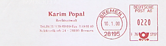 Freistempel F76 3797 Bremen - Rechtsanwalt Karim Popal (#473)