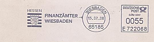 Freistempel E722068 Wiesbaden - Finanzämter Wiesbaden (Abb. Hessen Wappen) (#484)