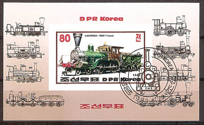 Korea-Nord Block 146 B o Dampflokomotive Finnland \