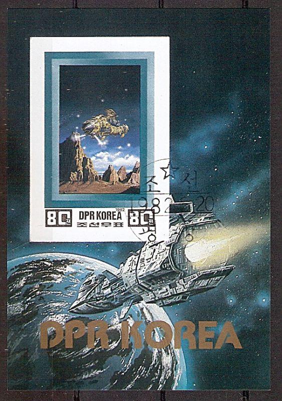 Korea-Nord Block 119 B o Raumfahrt der Zukunft 1982 / Raumschiff über Felslandschaft (2019175)