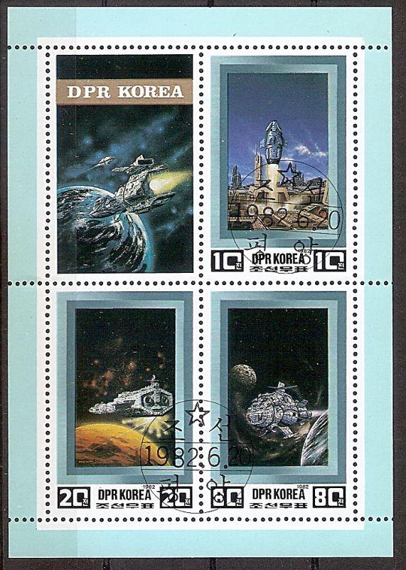 Korea-Nord Block 120 o Raumfahrt der Zukunft 1982 / Raketenstart und Raumschiffe (2019176)
