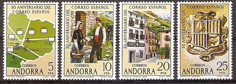 Andorra (span.) 111-114 ** 50 Jahre spanisches Postamt 1978 (2019180)