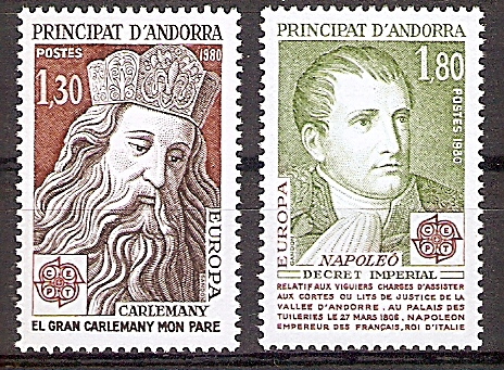 Andorra (franz.) 305-306 ** Europa CEPT 1980 / Bedeutende Persönlichkeiten (2019181)
