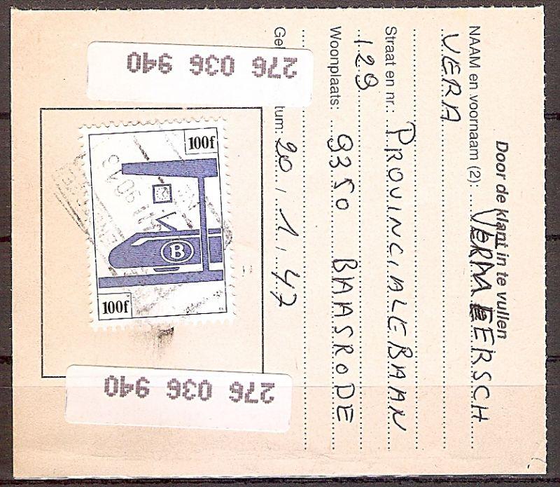 Belgien Eisenbahnpaketmarke 382 o auf Bedarfsbeleg (3 Bilder !) (2019196)