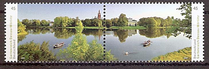 BRD 3401 - 3402 ** Zd. ! Paar ! Gartenreich Dessau-Wörlitz: Wörlitzer See mit Synagoge, Kirche St. Petri und Schloss, 2018 (2019200)