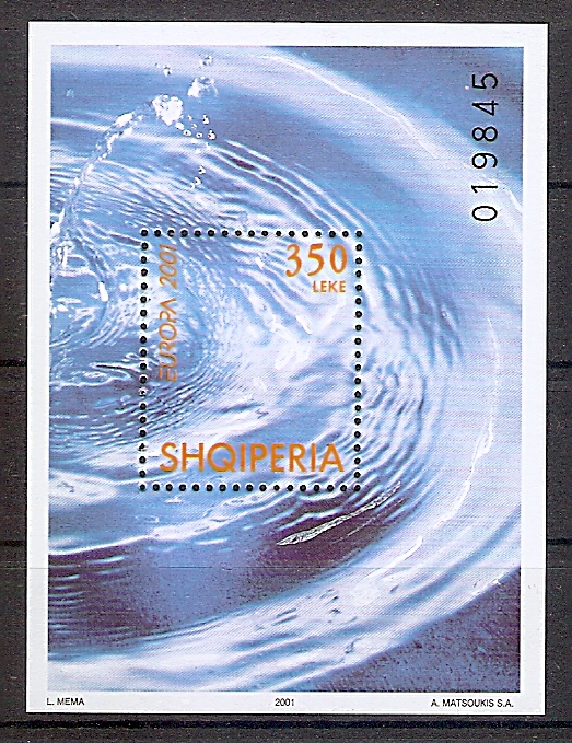 Albanien Block 130 ** Europa CEPT 2001 / Lebensspender Wasser (2019208)