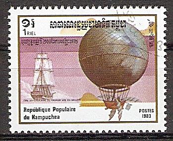 Kambodscha 491 o 200 Jahre Luftfahrt 1983 / Kanalüberquerung durch Jean-Pierre Blanchard und John Jeffries 1785 (2019210)