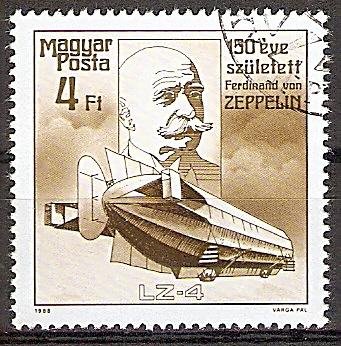 Ungarn 3943 A o 150. Geburtstag von Ferdinand Graf von Zeppelin 1988 / Luftschiff LZ-4 (1908) (2019211)