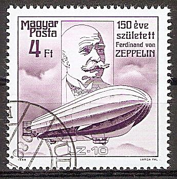 """Ungarn 3944 A o 150. Geburtstag von Ferdinand Graf von Zeppelin 1988 / Luftschiff LZ-10 """"Schwaben"""" (1911) (2019212)"""