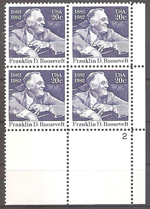 USA 1527 ** Franklin D. Roosevelt 1982 Plateblock (2019232)