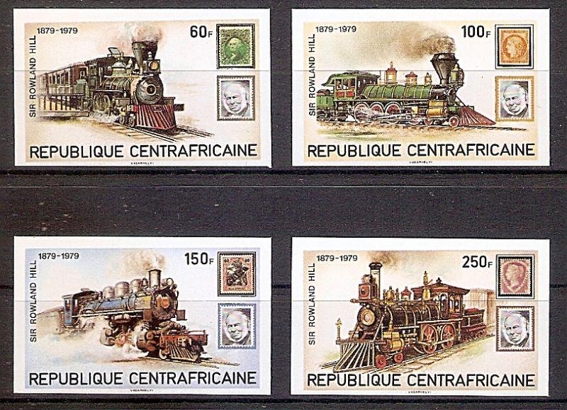 Zentralafrikanische Republik 648 - 651 B ** (ungezähnt!) Dampflokomotiven - 100. Todestag von Rowland Hill 1979 (2019235)