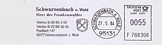 Freistempel F768308 Schwarzenbach a Wald - Herz des Frankenwaldes (Abb. Wappen) (#526)