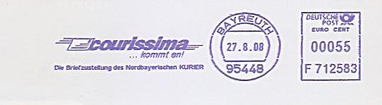 Freistempel F712583 Bayreuth - courissima... kommt an! Die Briefzustellung des Nordbayerischen Kurier (#527)